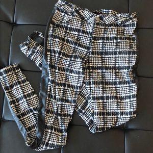 Black and white tartan print stretch pants/jegging